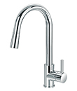 Single lever sink mixer with pull-out handshower